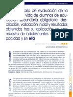 El cuestionario de evaluación de la calidad de vida de los alumnos de ESO. Descripción, validación y resultados