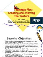The Business Plan, Creating and Starting the Venture