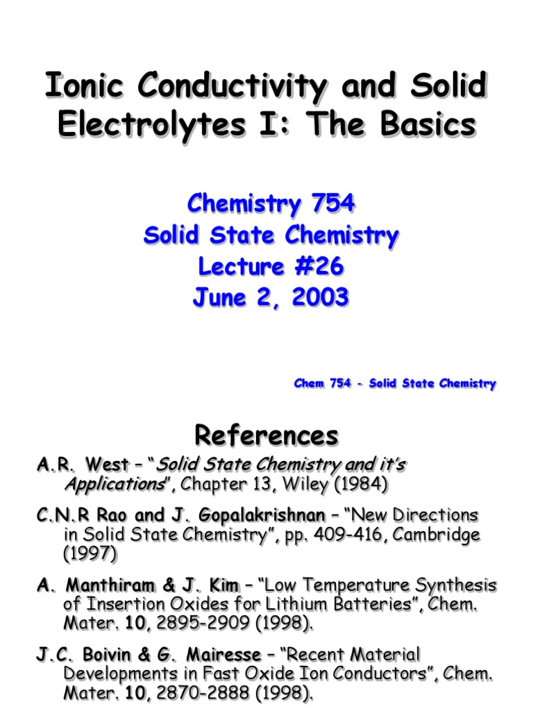 Solid state electrolyte ppt | Electrical Resistivity And