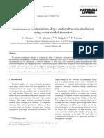 Solidification of aluminium alloys under ultrasonic irradiation using water-cooled resonator