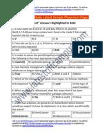 Citi Group Sample Aptitude Placement Paper