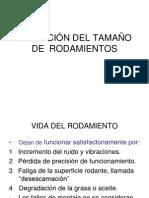 SELECCIÓN DEL TAMAÑO  DE  RODAMIENTOS calculos