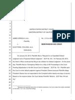 Grinols Order Denying Default