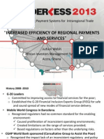 INCREASED EFFICIENCY OF REGIONAL PAYMENTS AND SERVICES