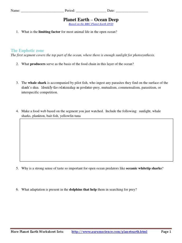 Free Worksheet Food Inc Worksheet planet earth deep oceans worksheet seabed