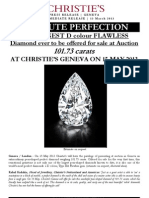Christie'S Geneva // The Largest D Colour Flawless Diamond Ever To Be Offered For Sale At Auction