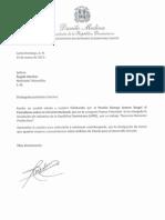 Carta de Felicitación del Presidente Medina a Ángela Sánchez por el Premio George Arzeno Brugal al Periodismo en la Categoría Prensa Televisión