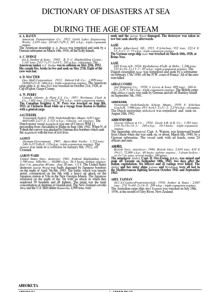 Dictionary of Disasters at Sea 1994 Hocking 1843423812 on