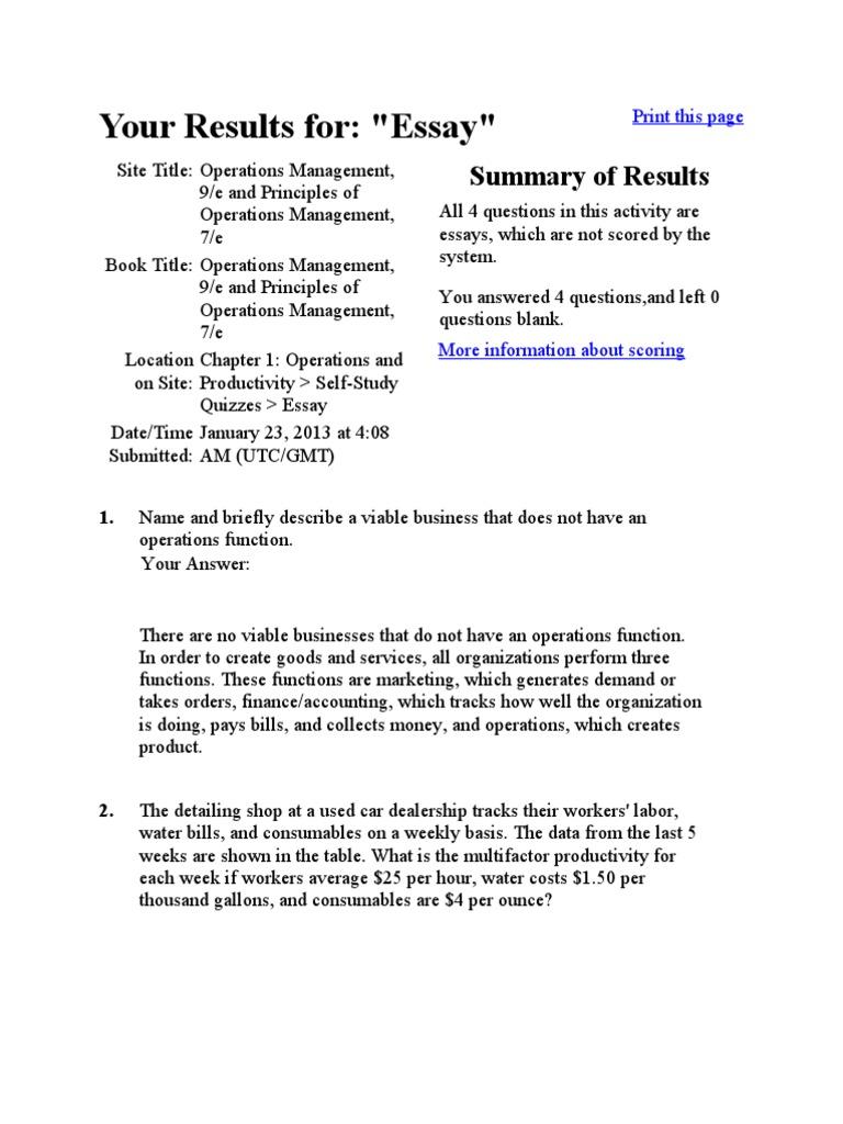 business management essays operations management essay
