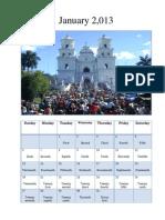 Calendario en Ingles Enero a Junio 2013