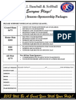 2013 Rio Linda Little League Sponsor Form