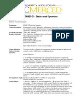 Stiatics and Dynamics Curriculum