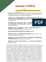 Sentencia C-818 de 2011 - artículos 13 al 33 de la Ley 1437 de 2011