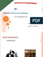 Business Plan Economics