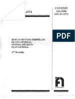 COVENIN 143-98 Rosca ISO para tornillos.Sistema métrico