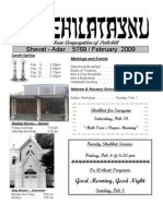 First Hebrew Congregation of Peekskill Bulletin - February 2009