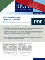 Stabilizing Afghanistan