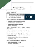 Resumen Prensa CEU-UCH 14-03-2013