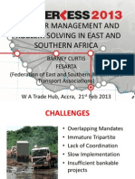 Corridor Management and Problem Solving in East and Southern Africa