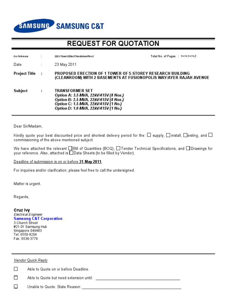 sample for quotation letter Template – Rate Quotation Format