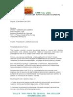 Carta Comercial Sam y Cb Ltda