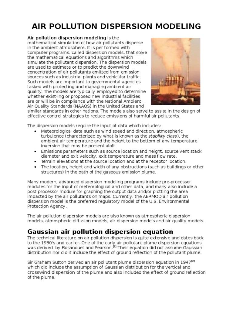 Gaussian air pollution dispersion equation