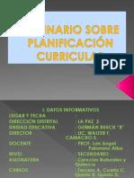 TALLER SOBRE PLANIFICACIÓN CURRICULAR 1