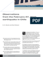 Observations From the 27 de Febrero 2010, Terremoto en Chile