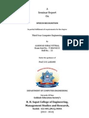 Speech Recognition Seminar Report   Speech Recognition