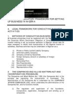Nip c Regulatory Framework for Setting Up Business in Nigeria