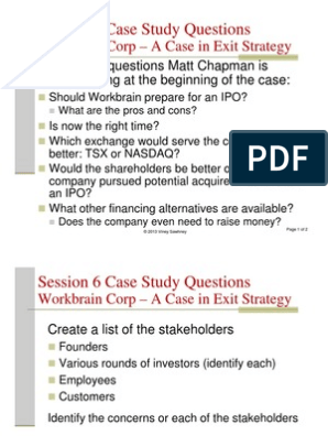 Session 6 Case Study Questions Workbrain Corp - A case in