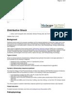 Distributive Shock. Medscape. Pinsky M