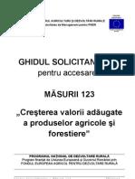 GHIDUL SOLICITANTULUI Pentru Masura 123 - Versiunea 7 Din 22.06.2012
