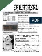 First Hebrew Congregation of Peekskill Bulletin - November 2008