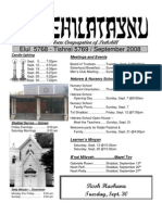 First Hebrew Congregation of Peekskill Bulletin - September 2008