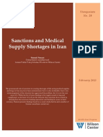 Sanctions and Medical Supply Shortages in Iran (Viewpoints No. 20)