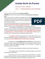 c o m u n i c a d o Prouni 2013_01 Ead 1 Lista de Espera Modelo Candidato