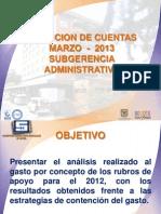 Rendicion de Cuentas 20130311 - Subgerencia Administrativa