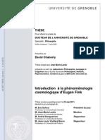 Introduction à la phénoménologie cosmologique d'Eugen Fink