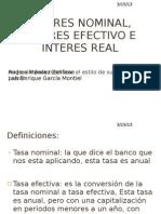 Interes Nominal, Interes Efectivo e Interes Real