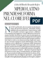 Giorgio Agamben sull'attualità del filosofo Alexandre Kojève - La Repubblica 15.03.2013