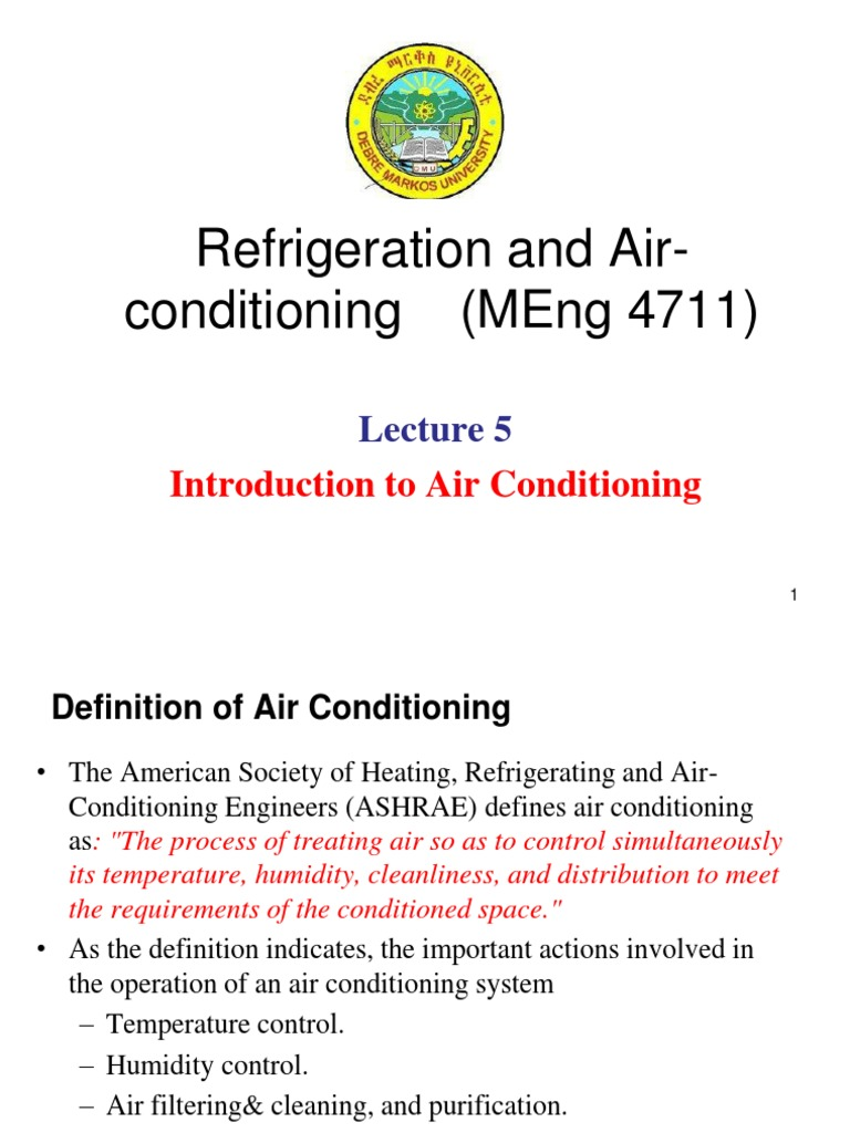 lecture 5. introduction to air-conditioning | air conditioning | hvac