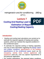 Lecture 7. Heating and Cooling Load Calculations