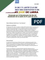 """COMENTARIO Artículo """"Los Calaveras"""" Mariano José de Larra Bicentenario HOMENAJE"""