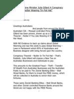 Australia Prime Minister Julia Gillard a Conspiracy Nut