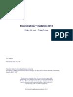 SQA Examination Timetable 2013