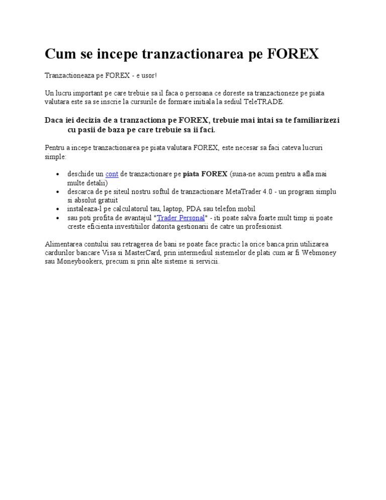 Introducere in tranzactionarea pe piata FOREX