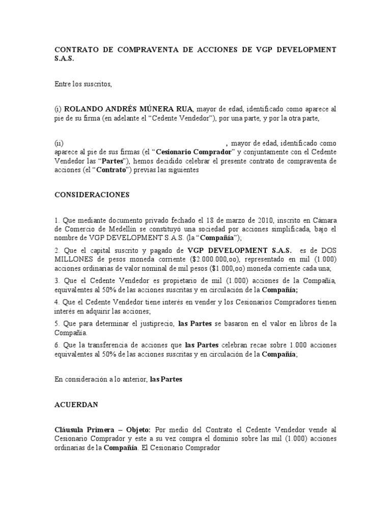 Modelo compra de acciones 3 doc for Modelo contrato laboral