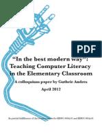Guthrie Andres' Colloquium Paper