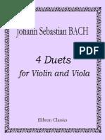 VIOLA - PARTITURA - Bach - 4 Duetos Para Viola e Violino